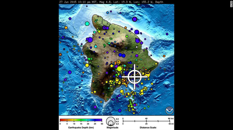 The white crosshairs show the location of Saturday's earthquake. Dots indicate past earthquakes.