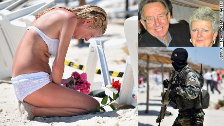 Girl mourns on beach, missing victims, policeman patrols