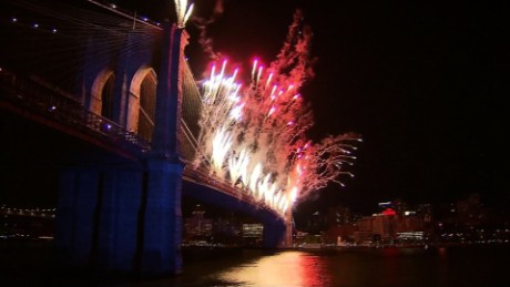 Fireworks in New York City.