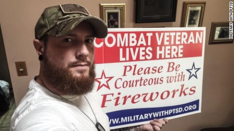 The signs are free to veterans and are just one part of what Military with PTSD, a nonprofit group, does for the military community. Their Facebook group has over 140,000 members including Joshua Crowell, pictured above.