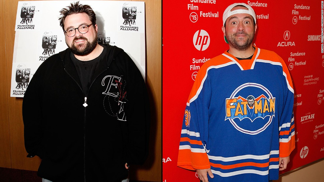 "Filmmaker Kevin Smith in 2008, left, and in 2015. The director of ""Clerks"" and other movies tweeted in June that he has lost 85 pounds. His secret? Walking 5 miles every day and giving up sugary drinks."