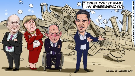 The Greek crisis illustrated by Niall O'Loughlin for the Irish Independent.