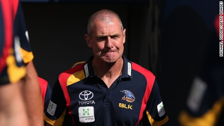 Adelaide Crows Head Coach Phil Walsh looks ahead during the round one AFL match between the Adelaide Crows and the North Melbourne Kangaroos at Adelaide Oval on April 5, 2015 in Adelaide, Australia.