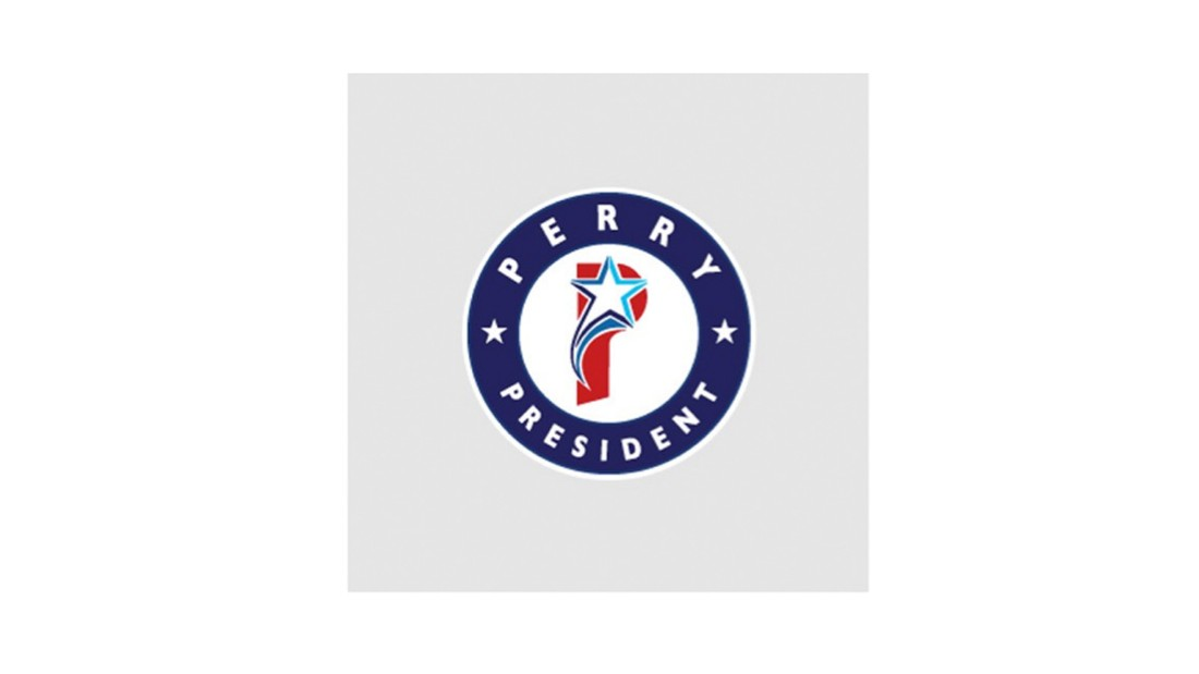 """<em><strong>Sky Hartman</strong></em>: Where do I even begin? The logo is overcrowded with elements that compete with each other. For example, the descender of the """"P"""" has a shifted perspective where the star does not. Additionally, Perry is from Texas and the flag representing Texas has one star, where here he has three. I would have stuck with one star. Overall, I'd say this is 3/10. <br /><strong><em>Ben Ostrower</strong><strong></em>: </strong>Trying to be the """"P"""" to Obama's """"O,"""" it comes off as a muddled image without enough graphic simplicity or any clarity of concept. It's a confused baseball team logo.<br />"""