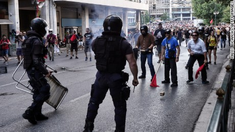 Anti-austerity demonstrators tussle with Police in Syntagma Square during an anti-Austerity rally on July 3, 2015 in Athens, Greece.