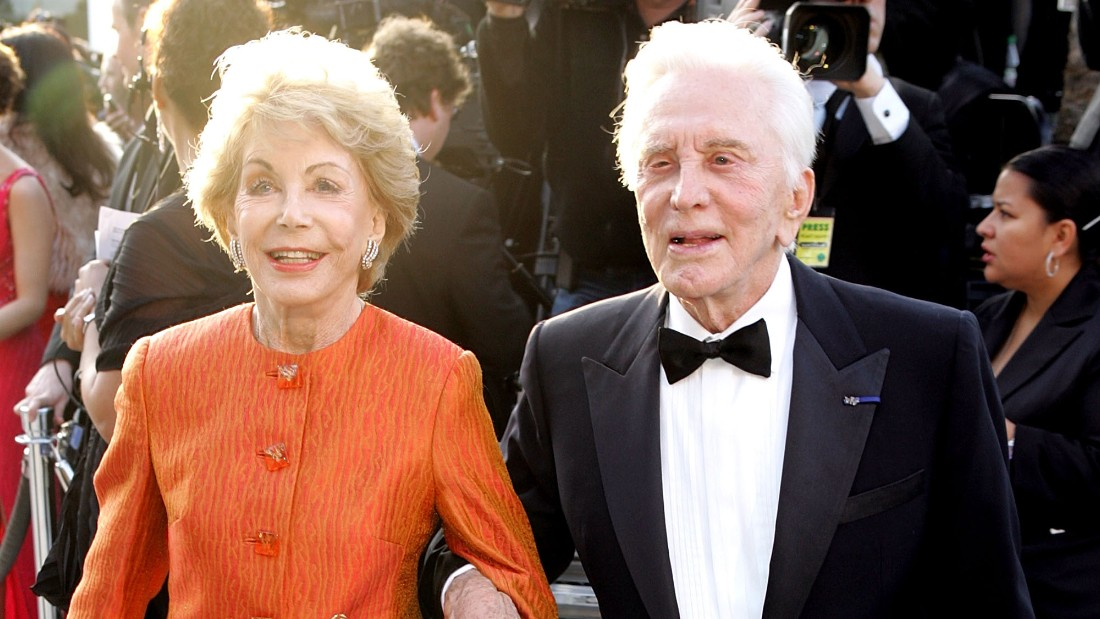 Diana Douglas and ex-husband Kirk Douglas seen at the Vanity Fair Oscar Party in 2005 in West Hollywood, California. Diana Douglas died Saturday at age 92.