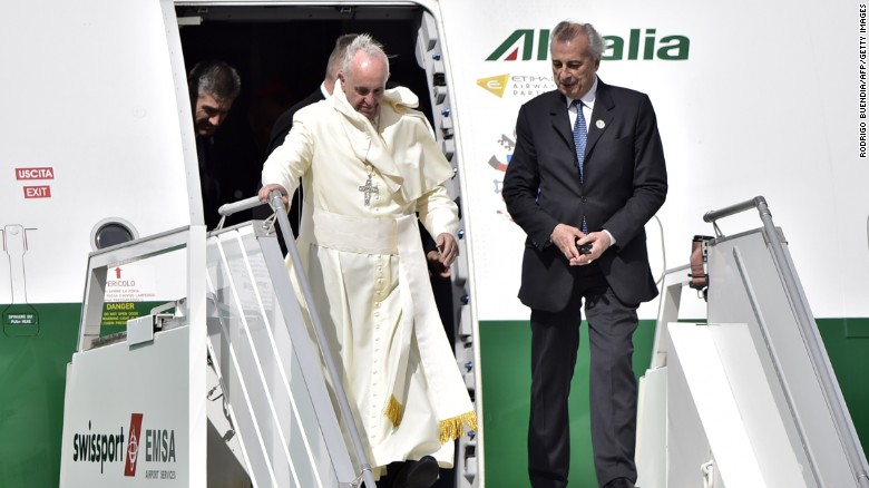 'Excited' Pope Francis lands in Ecuador, praises the nation's 'singular beauty'