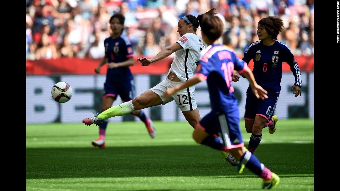 Lauren Holiday of the United States scores her first goal against Japan on July 5.