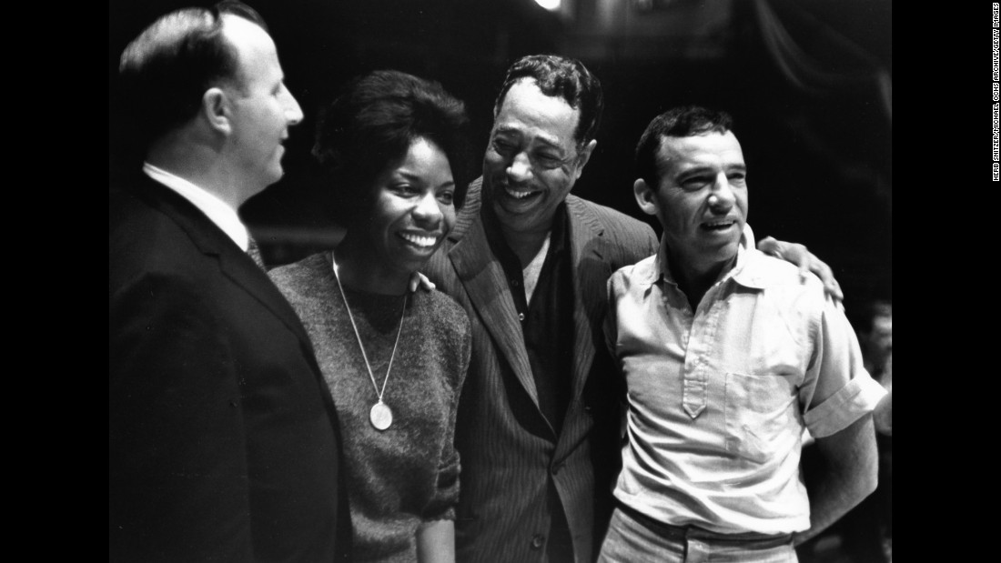 From left, jazz musicians George Shearing, Simone, Duke Ellington and Buddy Rich attend the Madison Square Garden Jazz Festival in New York in 1959.