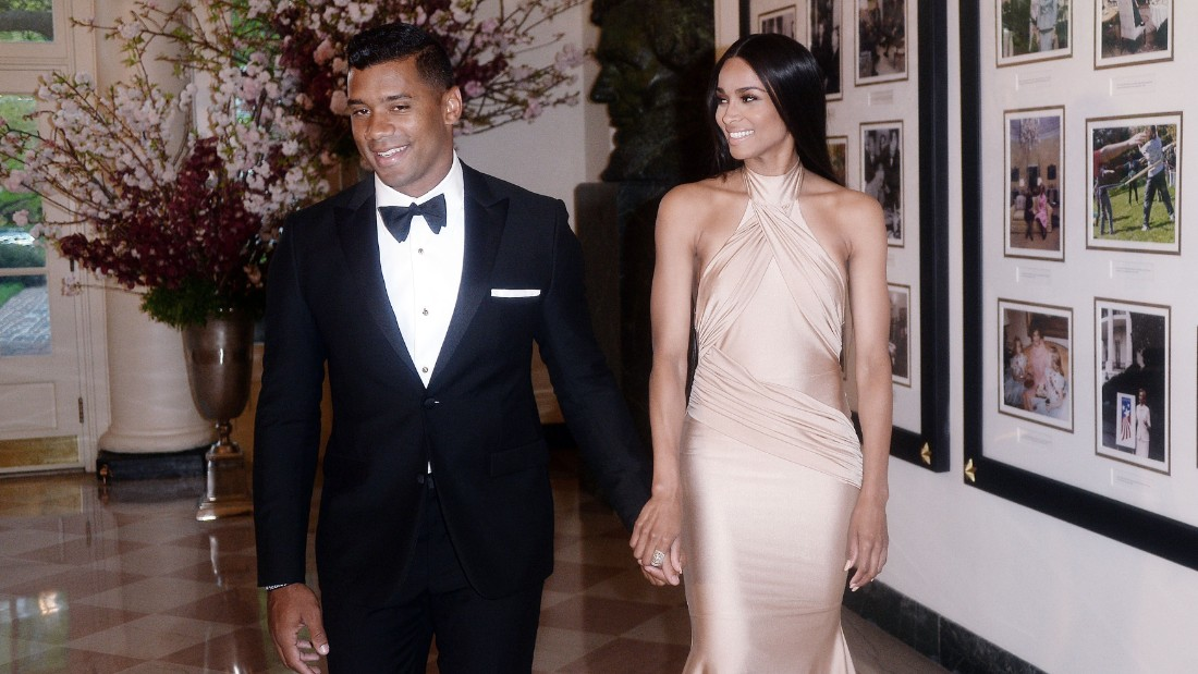 WASHINGTON, DC - APRIL 28: Russell Wilson from the Seattle Seahawks and Ciara Harris arrive for the state dinner in honor of Japanese Prime Minister Shinzo Abe And Akie Abe April 28, 2015 at the Booksellers area of the White House in Washington, DC. The Japanese Prime Minister and his wife are on an official visit to Washington. (Photo by Olivier Douliery/Getty Images)