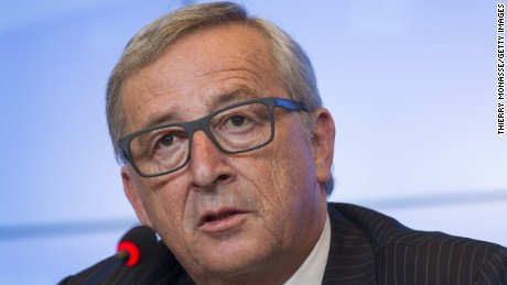 European Commission president Jean-Claude Juncker gives a press conference following a meeting between the EU Commission and the Luxembourg government at the EU Council headquarters in Luxembourg on July 3, 2015.