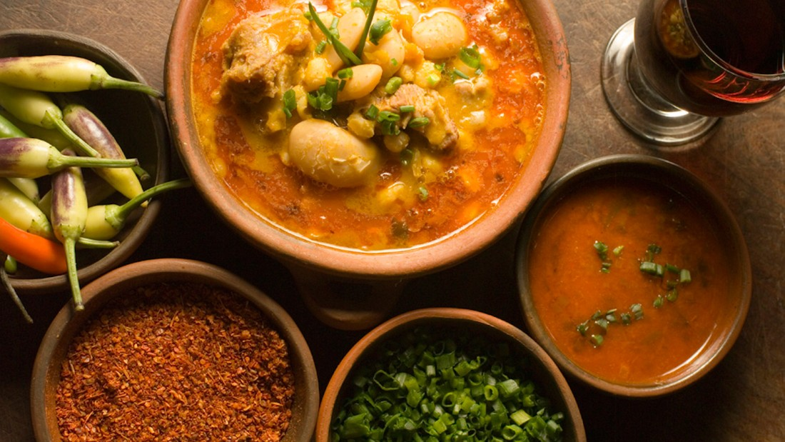 Locro is a national dish traditionally served on May 25, the date marking Argentina's May Revolution. The hearty stew is made from white corn, beef or pork, tripe and red chorizo, as well as other vegetables including white beans, squash and pumpkin, and seasoned with cumin and bay leaf.