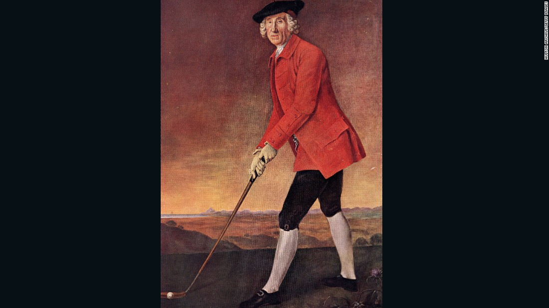 "A portrait of William St. Clair of Rosslyn dating from around 1780. He was a member of the Honorable Company of Edinburgh Golfers (formerly known as the Gentleman Golfers of Edinburgh) who <a href=""http://www.scottishgolfhistory.org/origin-of-golf-terms/rules-of-golf/"" target=""_blank"">drew up the first known Rules of Golf</a>. The military style coat was a familiar sight on the links in that era, Fleming says.  <br /><br />""Members of early golf societies in Scotland and England from the early 1700s onwards were quite frequently military men who would often have military style coats -- it was the fashion of the day to wear a button coat,"" Fleming told CNN. <br /><br />""Different societies had different colors -- red is an R&A color and other societies also wore red, but others wore blue, green, there are instances of yellow (coats). It was symbol of membership. They would have special buttons for different societies, in the same way today that clubs have their own crest on jumpers and jackets, blazers, club ties. They also served a practical purpose -- they were warm and highly visible."""