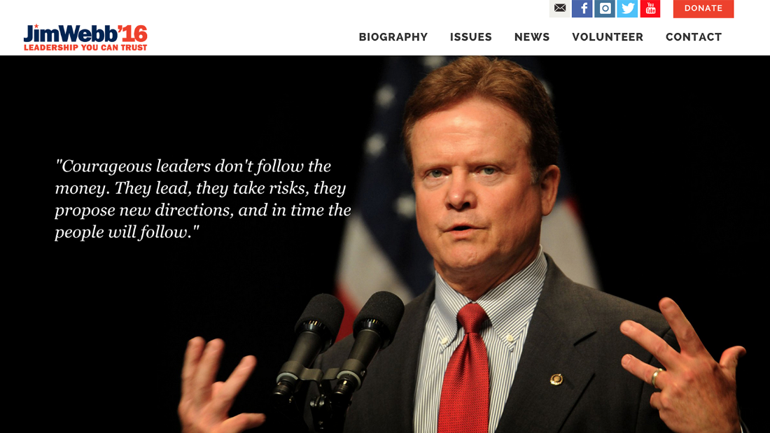 Former U.S. Sen. Jim Webb of Virginia, Republican, who has dropped out of the presidential race