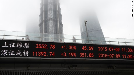 Caption:A screen that shows the Shanghai Composite Index (top) and the Shenzhen Component Index is seen on the side of an overpass in front of the Shanghai World Financial Center (L), Jin Mao Tower (C) and Shanghai Tower in Shanghai on July 9, 2015. Chinese stocks stormed into positive territory in volatile trading on July 9 as Beijing launched new measures to halt a dramatic sell-off, but trading remained volatile in a crisis that has also hurt global share markets and commodity prices. AFP PHOTO CHINA OUT (Photo credit should read STR/AFP/Getty Images)