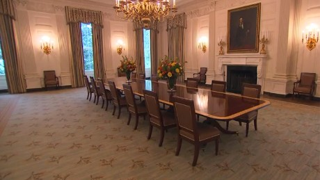 white house dining room | White House unveils redecorated State Dining Room ...