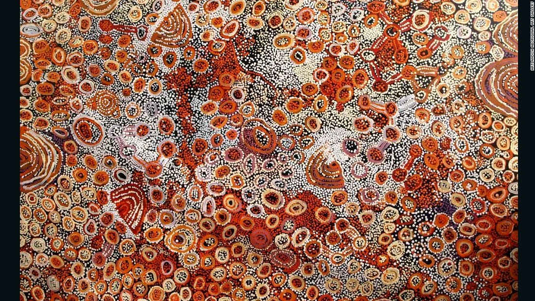 "Aboriginal culture<a href=""http://www.aboriginal-art-australia.com/aboriginal-art-library/the-story-of-aboriginal-art/"" target=""_blank""> dates as far back as 80,000 years</a>, but modern canvas works are finding popularity with international buyers. Pictured, ""Marrapinti"" by Naata Nungurrayi. Her work often hints at sacred women's ceremonial sites, their dancing, and the designs on their bodies.<br />"