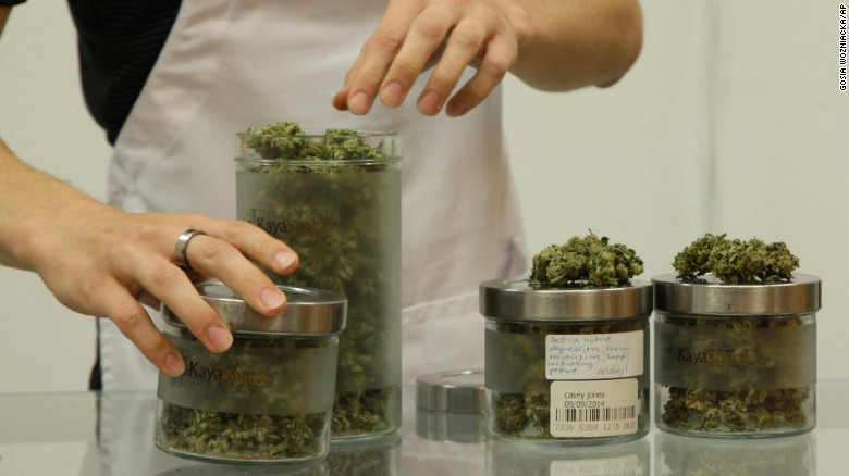 An employee at Kaya Shack, a Portland, Oregon, medical marijuana dispensary, showcases three types of marijuana sold at the shop on June 26. Oregon legalized recreational marijuana use on July 1.