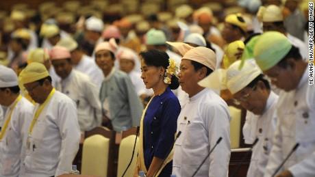Myanmar's opposition leader Aung San Suu Kyi in Myanmar's parliament in Naypyidaw.