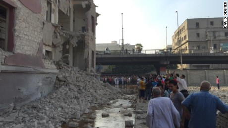 Aftermath of explosion near the Italian consulate in downtown Cairo