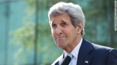 US Secretary of State John Kerry informs media during his press conference outside the Palais Coburg Hotel, where the Iran nuclear talks meetings are being held, in Vienna, Austria on July 5, 2015. Kerry said that 'it is now time' to finalise a historic nuclear deal with Iran, on a ninth day of talks in Vienna between Tehran and major powers. AFP PHOTO / JOE KLAMAR (Photo credit should read)