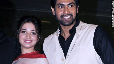 "Indian actors Tamannaah Bhatia and Rana Daggubati at the launch of the trailer for ""Baahubali"""