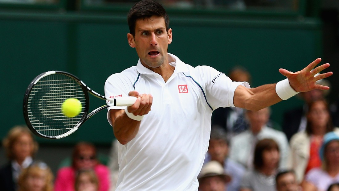 LONDON, ENGLAND - JULY 12: Novak Djokovic of Serbia plays a forehand in the Final Of The Gentlemen's Singles against Roger Federer of Switzerland on day thirteen of the Wimbledon Lawn Tennis Championships at the All England Lawn Tennis and Croquet Club on July 12, 2015 in London, England. (Photo by Clive Brunskill/Getty Images)
