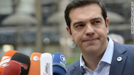 Greek Prime Minister Alexis Tsipras arrives for a meeting of eurozone leaders in Brussels on July 12.