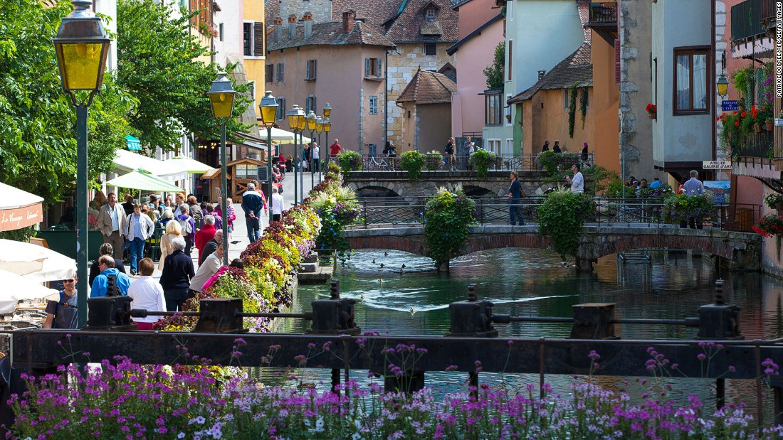 "In the Alps of southeastern France, Annecy is sometimes called ""Little Venice"" because of its canals surrounded by beautiful terraces. Its picturesque historical castle, built in the middle of one of the canals, is among romantic attractions that pull in the visitors."