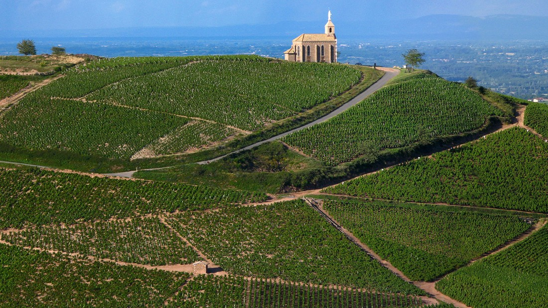 It may have rivals in New World producers, but France is still the quintessential wine country and the millions of acres dedicated to grape growing are part of its charm. Here the Chapelle de la Madone sits above a vineyard in Beaujolais, central-eastern France.