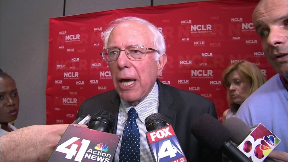 """Presidential hopefuls paid unprecedented attention to the nation's Hispanic population in 2015. Both Democrats and Republicans were outspoken about how to tackle immigration from Mexico and Central America. Vermont Sen. Bernie Sanders, seen here, was among three Democratic hopefuls who spoke at <a href=""""http://www.cnn.com/2015/07/13/politics/bernie-sanders-la-raza-conference-2016-clinton/index.html"""">the annual meeting of the National Conference of La Raza</a>, a Latino civil rights group, in July."""