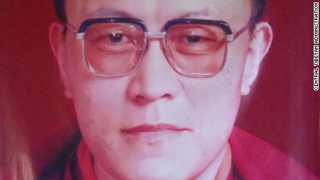 A photo of Tenzin Delek Rinpoche, a prominent Tibetan monk who died in a Chinese prison on Sunday, July 12, 2015.