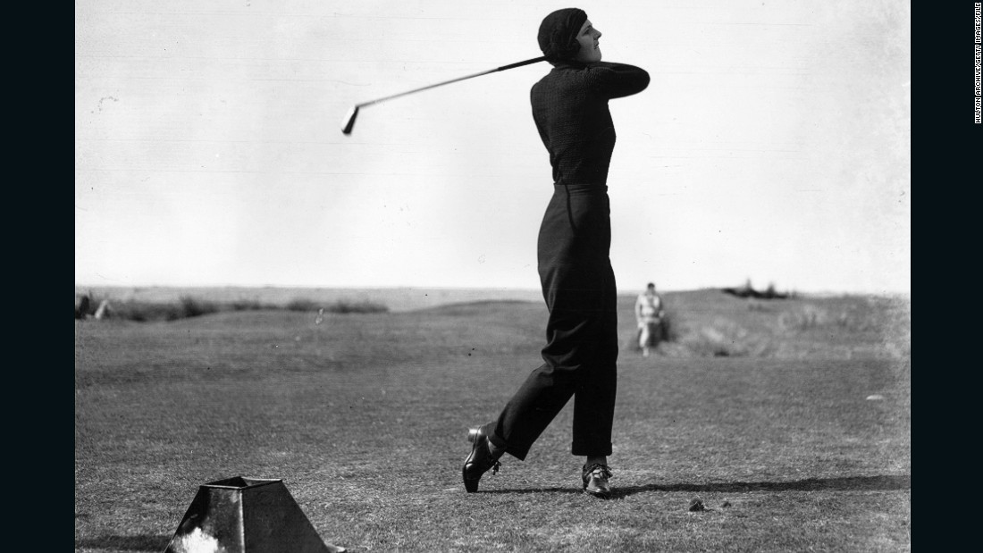 "The elegant and striking figure of Gloria Minoprio caused a sensation at the English Ladies' Golf Championship in 1933 when she arrived carrying just one club and wearing trousers -- a <a href=""http://www.scottishgolfhistory.org/early-womens-golf/iv-womens-golf-the-fashion-pages-/"" target=""_blank"">first for a women golfer</a>. <br /><br />""She turned up using a one iron and wore an iconic outfit -- a pair of navy trousers quite high-waisted and well-fitting, a roll-neck sweater and a turban, all matching navy colors,"" Fleming says.<br /><br />""From that period onwards, more golfing women thought, 'Well, maybe I could wear slightly more interesting fashion choices on the golf course.'""<br /><br /><br /><br />"