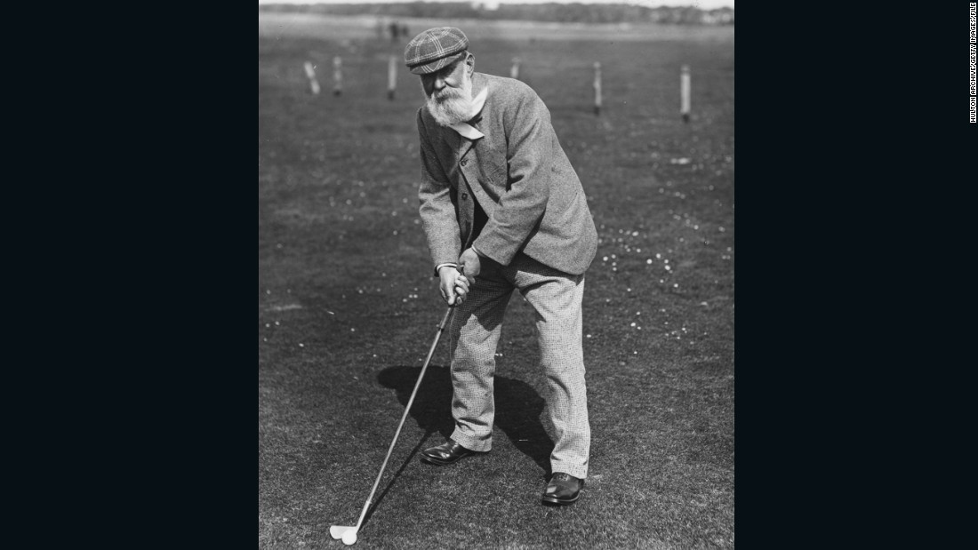 "Old Tom Morris, photographed around 1880, won the Open Championship four times. Dressed in hard-wearing and warm tweed, Morris, the son of a weaver, is widely regarded as the first professional golfer.   <br /><br />""The early Open champions started to be known as pros,"" explains Fleming. ""They won money in competitions and were backed by the gentlemen golfers who would act almost like sponsors. They would bet against one another, put up prize money, trophies."""