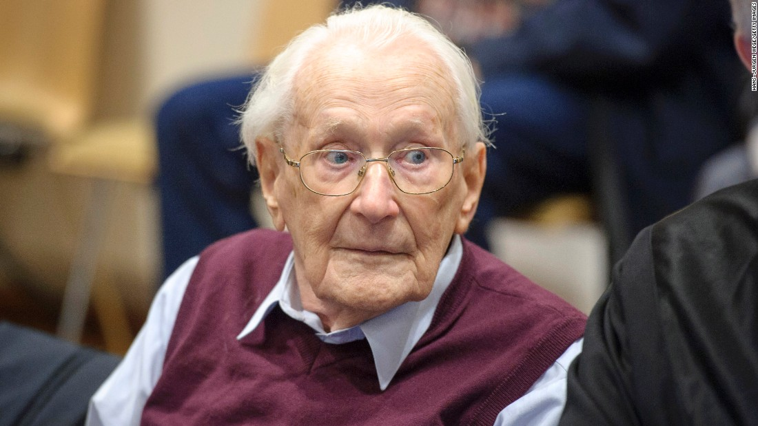 "Former Nazi officer<a href=""http://www.cnn.com/2015/07/15/europe/germany-nazi-death-camp-verdict/index.html"" target=""_blank""> Oskar Groening</a>, known as ""the bookkeeper of Auschwitz,"" was sentenced this week to four years in prison. Groening, who's in his 90s, was found guilty by a court in Lueneburg, Germany, of being an accessory to the murder of 300,000 people at the Auschwitz death camp in Nazi-occupied Poland during World War II. His was the latest in a long string of prosecutions for crimes committed under Adolf Hitler's regime during World War II."