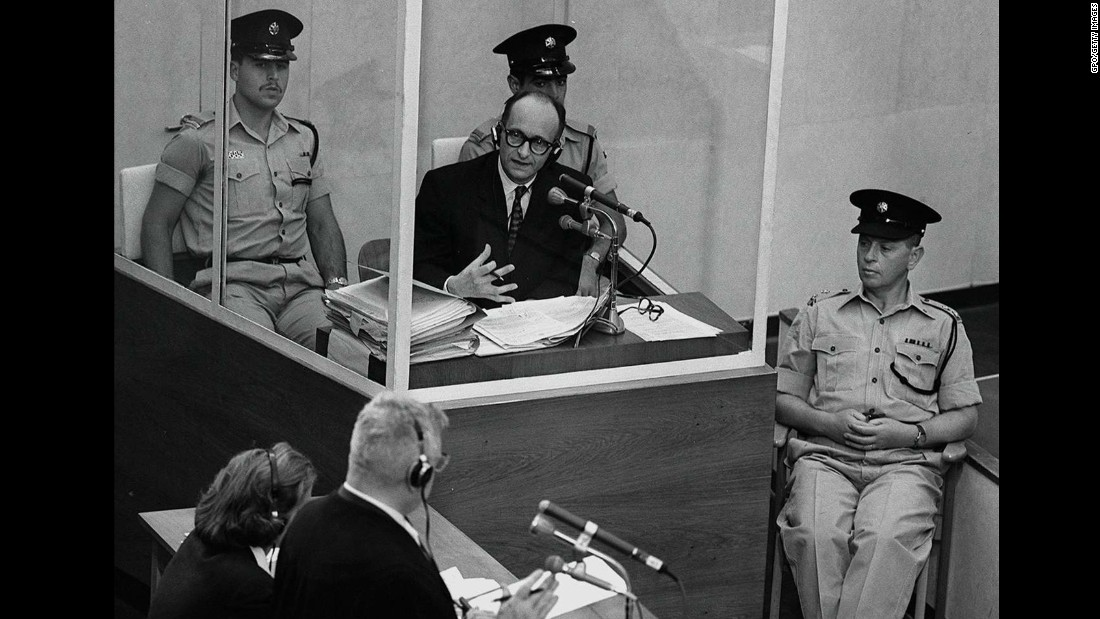 Perhaps the most famous Nazi war crimes trial was that of Adolf Eichmann, who was hiding in Argentina when he was seized by Israeli agents. He was brought to Jerusalem and tried in a protective glass booth flanked by Israeli police. Responsible for helping to organize the deportation of about 1.5 million Jews to concentration camps, Eichmann was found guilty of crimes against the Jewish people. He was hanged in 1962.