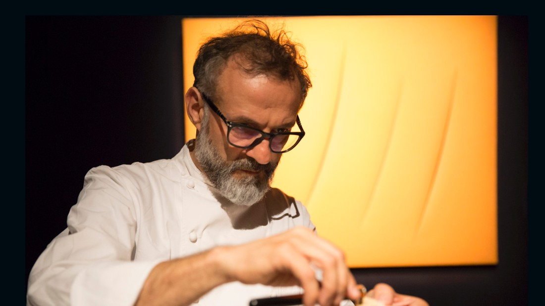 Massimo Bottura serves 30 month aged Parmesan with Villa Manodori Artigianale balsamic vinegar at Sotheby's in London
