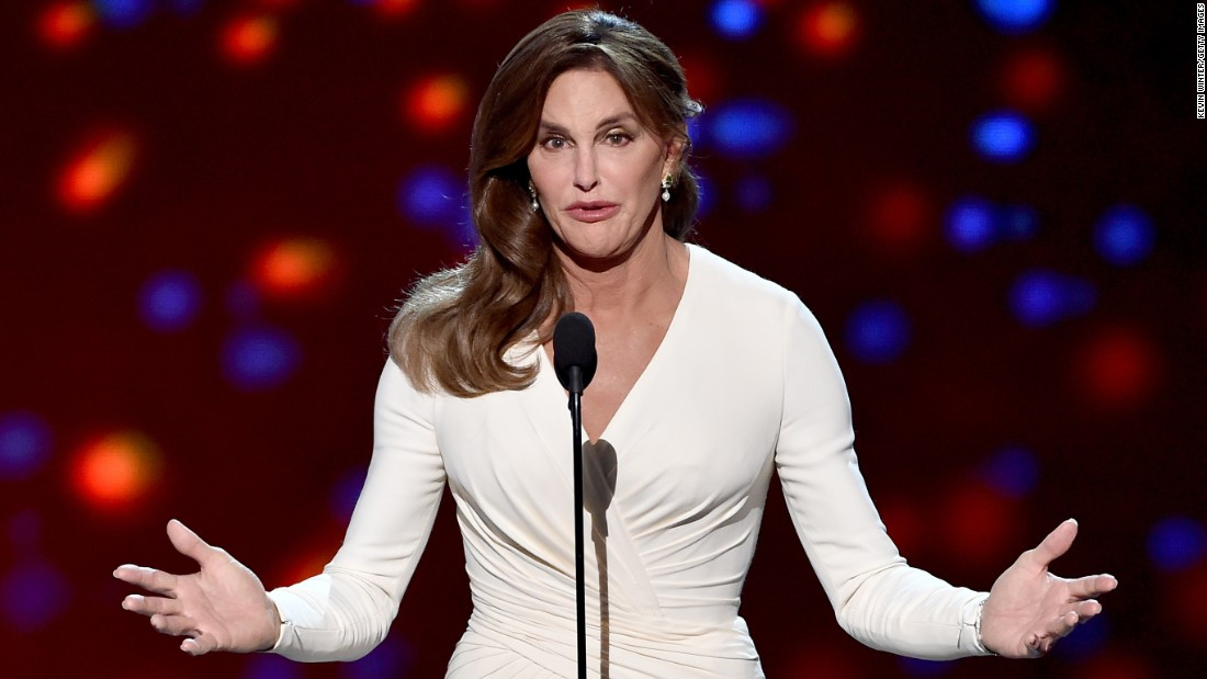 "Caitlyn Jenner <a href=""http://money.cnn.com/2015/07/15/media/espys-caitlyn-jenner-arthur-ashe-award/"">accepts the Arthur Ashe Courage Award</a> during the ESPYs in Los Angeles on Wednesday, July 15. In her first speech since identifying as transgender, she said she wants to ""reshape the landscape of how trans issues are viewed."""
