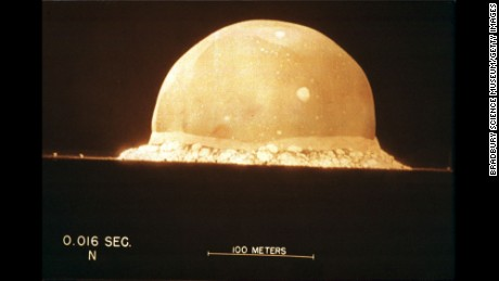 A photograph on display at The Bradbury Science Museum shows the first atomic bomb test On July 16, 1945, at 5:29:45am, at Trinity Site in New Mexico, U.S.A. The museum is Los Alamos National Laboratory's window to the public.