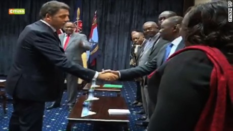 TV footage of Italian Prime Minister Matteo Renzi's meeting with President Kenyatta showed him to have a square-shaped shoulder, revealing a flak jacket hidden under his suit.