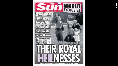 The Sun newspaper published decades-old footage of Britain#39;s Queen Elizabeth II giving a Nazi salute as a young girl.