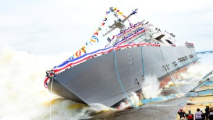 Navy's newest combat ship slides into Wisconsin waters