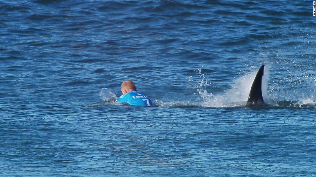 """A surfing competition in South Africa was canceled Sunday after championship surfer Mick Fanning escaped a shark attack in the opening minutes of the final heat. Fanning escaped with a severed leash on his surfboard. He told World Surf League TV that he """"punched"""" the shark """"in the back"""" to scare it away."""