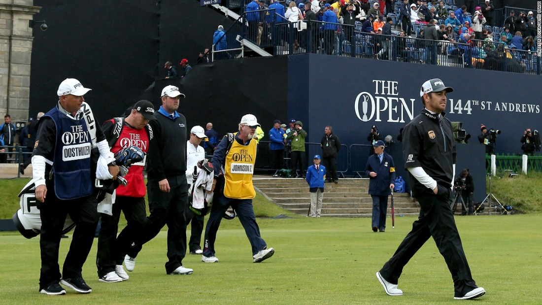 Johnson emerged victorious from a three-way playoff with Louis Oosthuizen of South Africa and Australian Marc Leishman after the three men finished level at 15-under par for the tournament.