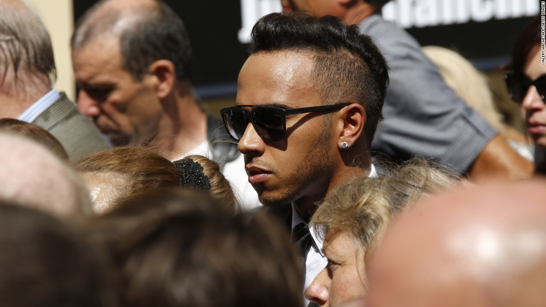 World champion Lewis Hamilton was one of many drivers who attended the funeral of their popular racing peer.