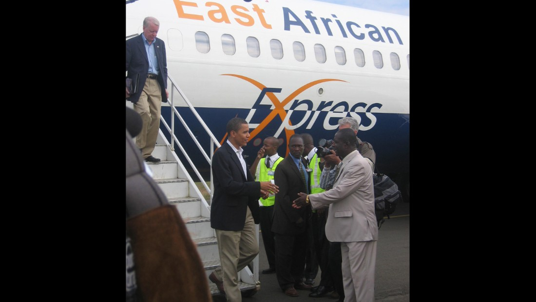 Arriving on East African Express Airlines, Obama stepped off to far less fanfare than when he will later descend the steps of Air Force One.