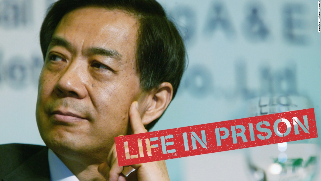 """Once a rising star of the Chinese Communist Party, <a href=""""http://cnn.com/2013/09/21/world/asia/china-bo-xilai-verdict/"""">Bo Xilai fell from power</a> in an explosive scandal involving murder, betrayal and financial skullduggery. Bo pleaded not guilty and challenged the prosecution's case in a rare public trial. He was jailed for taking bribes, embezzlement and abuse of power. His career unraveled after his wife, Gu Kailai, poisoned a British businessman, and his right-hand man, Wang Lijun, fled to the U.S. consulate in Chengdu."""