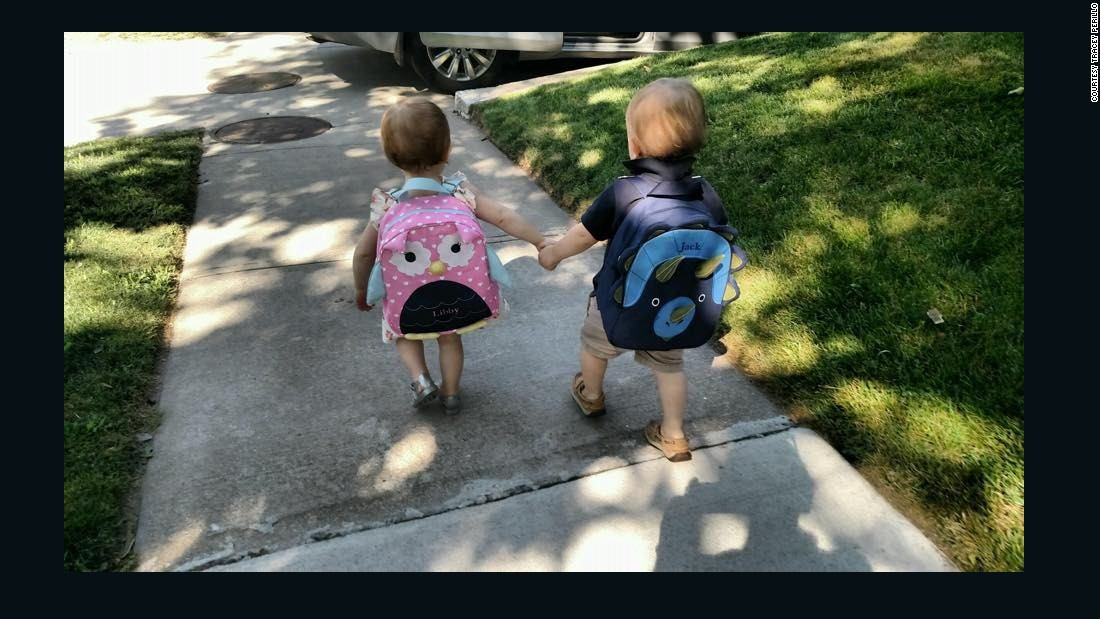 ... other close on their first day of school in Brookline, Massachusetts