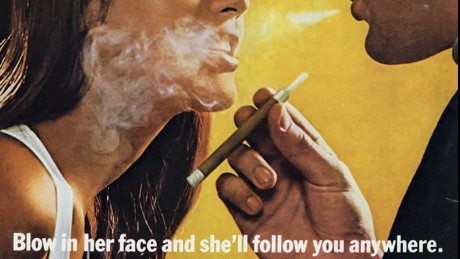 This ad for Tipalet cigarettes was first issued in 1969 and continued to run in the 1970s. Sex was often used to sell cigarettes throughout the decade.