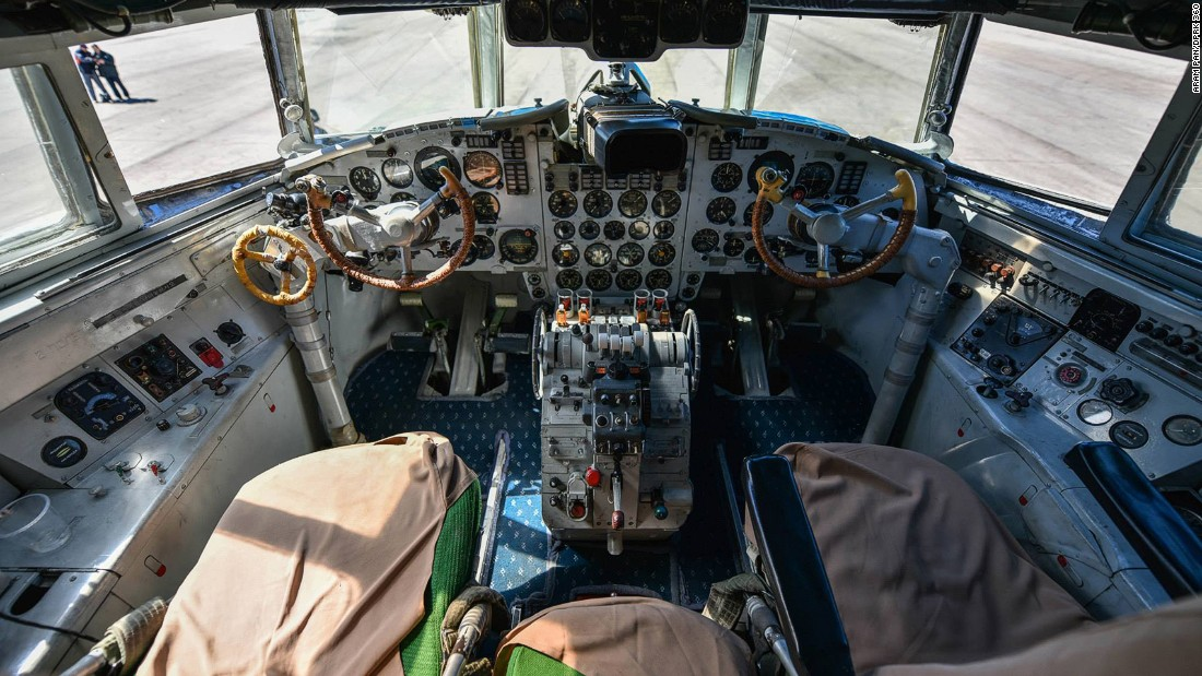 """Singaporean photographer Aram Pan toured North Korea and captured amazing 360-degree images. This shot shows the cockpit of an Air Koryo Ilyushin Il-18. Heres<a href=""""http://www.dprk360.com/360/air_koryo_Il-18/""""  is a 360-degree virtual tour of the plane</a>."""
